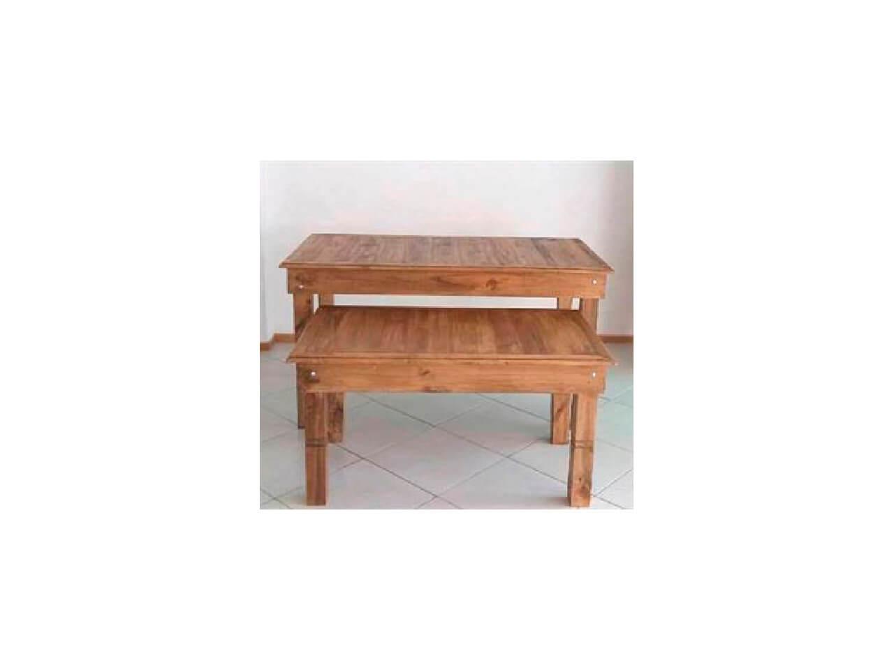 Jogo de mesas rustica 1,80x0,80-1,30x0,60